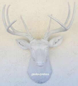 Image Is Loading Faux White Deer Head 8 Point Buck Wall