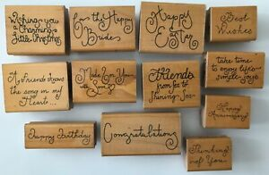 12-Script-Expression-Rubber-Stamps-by-JRL-Design-Wood-Mounted-Wishes-Friends-etc