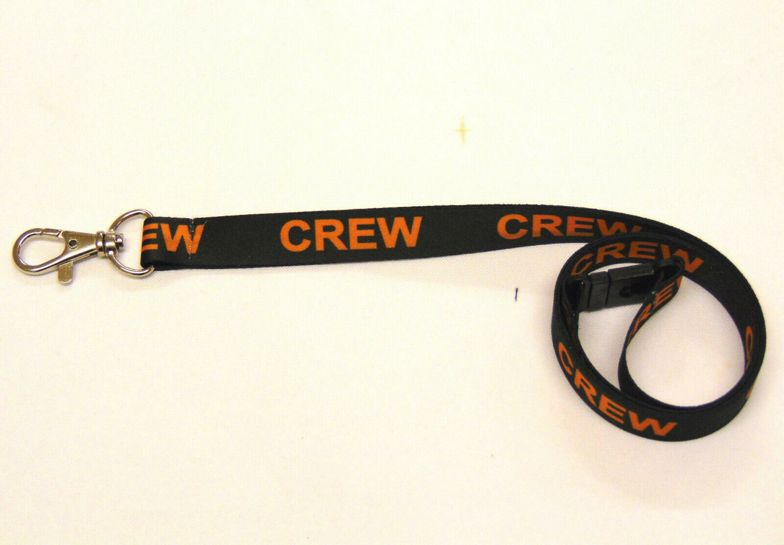 CREW lanyard black/orange 15mm with safety breakaway for ID & keys. Free UK post