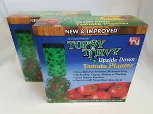Turvy-Upside-Down-Tomato-Planter-Seen-on-TV-Lot-of-2-New-and-Improved-Topsy