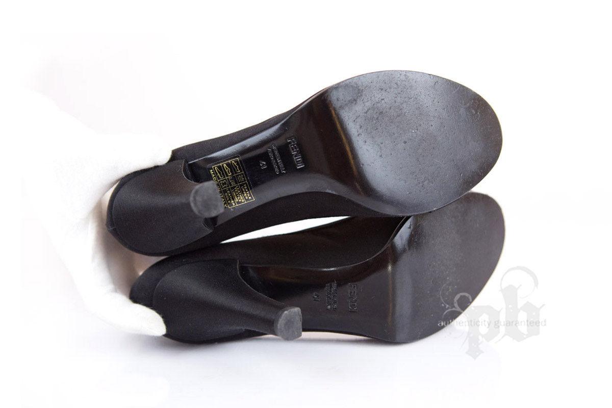 Fendi con Negro Punta Abierta Zapatos con Fendi Swarovski Talla 9 EE. UU. 02d560