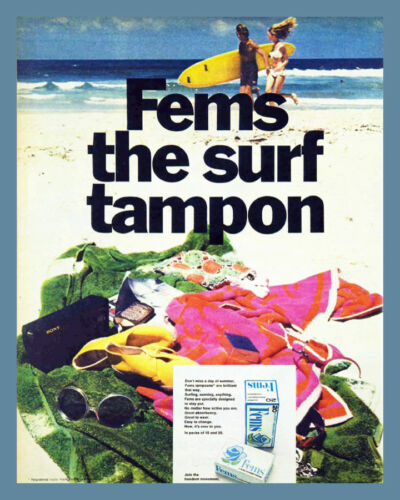 Decor POSTER.Office Home room Art Design.Woman surfing.Fems Tampon.French.6840
