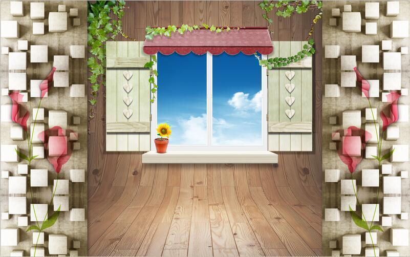 3D wood Window sky bluee Wall Paper wall Print Decal Wall Deco Indoor wall Mural