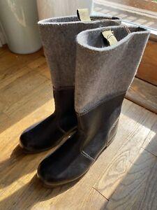 East German Winter Boots Leather / Felt NVA DDR Vintage Size 30/US 11 Unissued