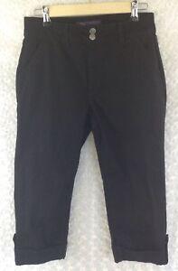 NYDJ Not Your Daughters Jeans Women's Sz 6P Capri Crop Black Pants 30X19 Stretch