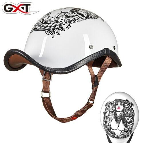 GXT Unisex Motorcycle Helmet Cycling Vintage Half Helmets Headgear Open Face DOT