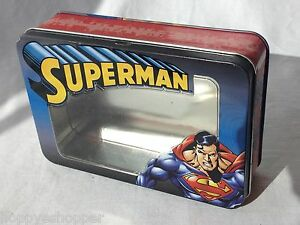 DC-Comics-Superman-Hinged-Lid-Tin-Box-7x5-034-Toy-Trinket-Holder-Clear-Lid-Insert