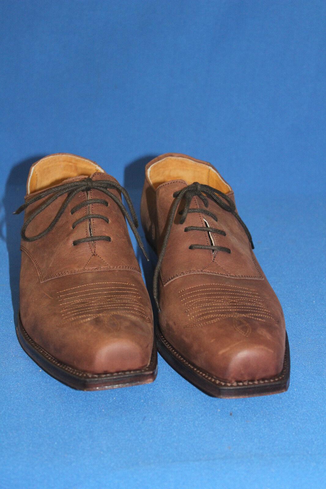 prime boots westernstiefel leder halbschuh  schnürrschuh  leder westernstiefel neu  gr. 42 nobukleder 24d7e8
