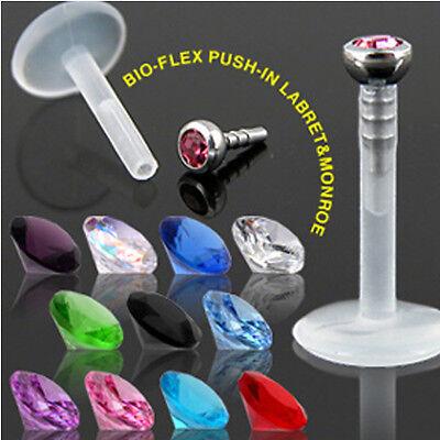 1,6mm Bio Plastik Labret Stecker Lippen piercing Madonna Piercing mit Kristall