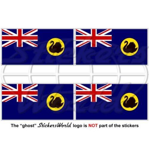 "WESTERN AUSTRALIA State Flag AU-WA Australian 50mm Decals x4 Vinyl Stickers 2/"""