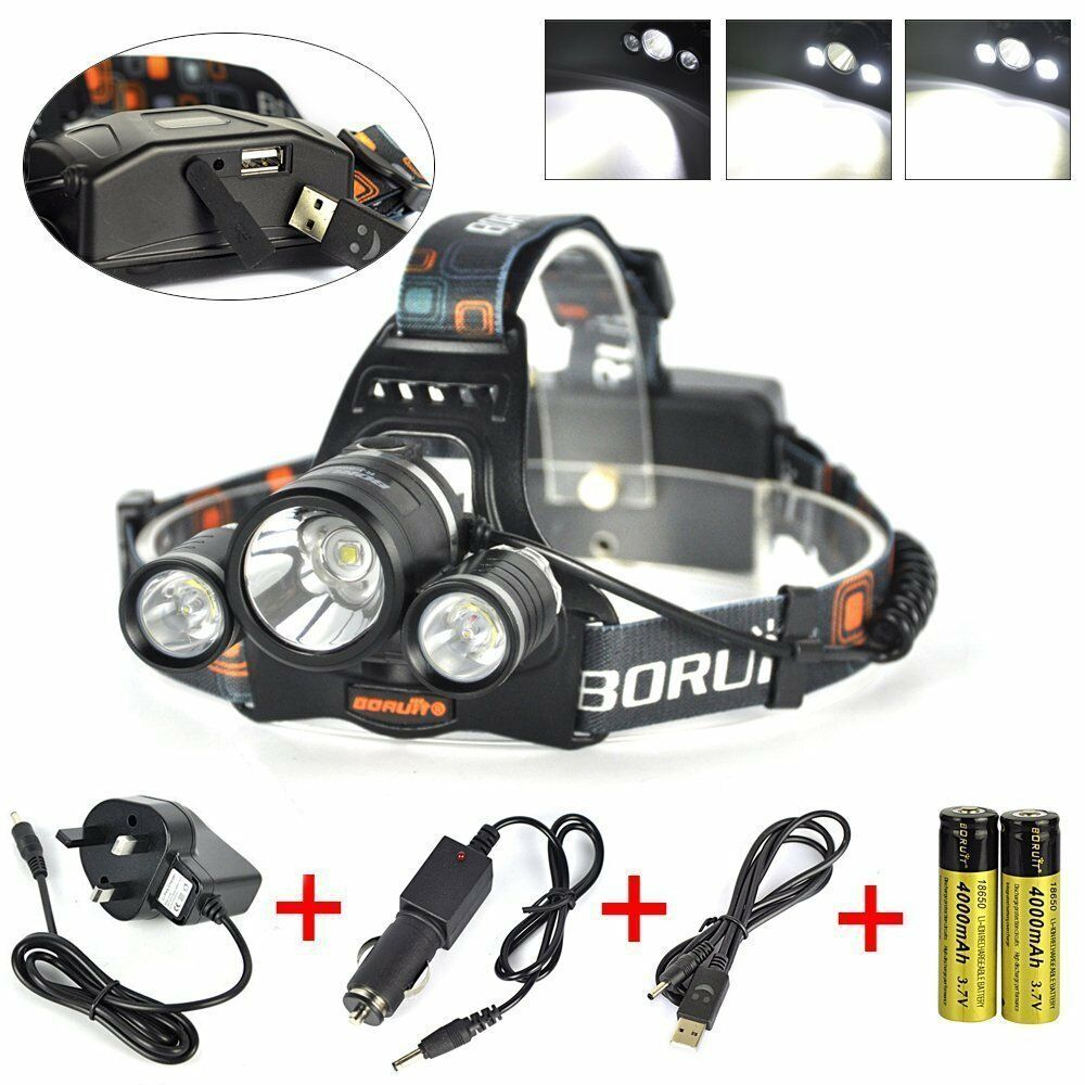 5000 Lumens 3 x CREE XM-L T6 LED 4 Mode Headlight Lamp Rechargeable Head Torch