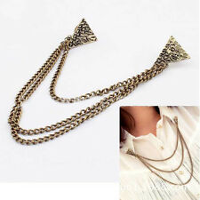Hot Stud Blouse Shirts Collar Clip Neck Tip Brooch Pin Chain Punk Accessories
