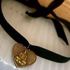 Black Velvet Antique Gold Heart Buddha Choker Self Tie Bow Necklace