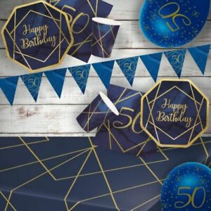 6 x Navy /& Gold Geode 50 Latex Balloons Ladies 50th Birthday Party Decoration