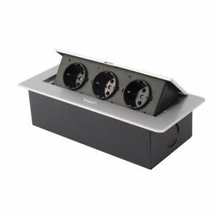 Details zu Tischsteckdose 3-fach Aluminium Steckdose Küche  Steckdosenelement versenkbare AS