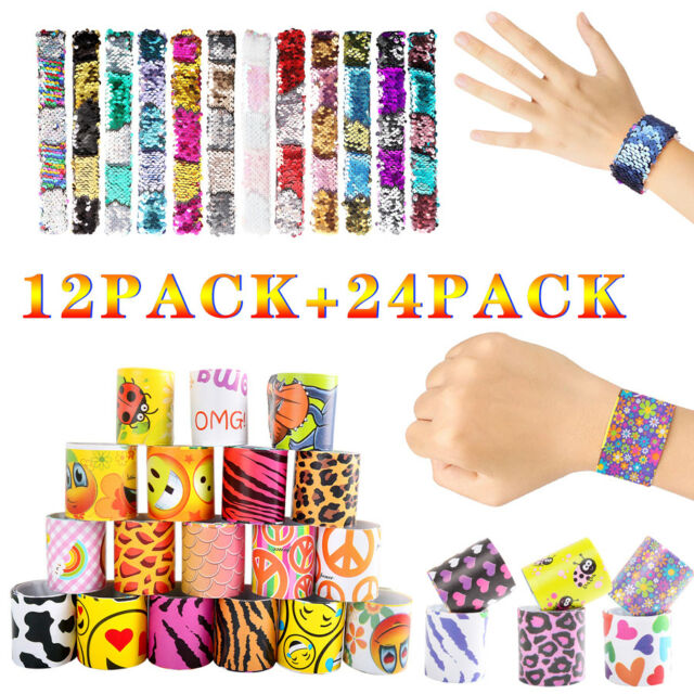 Includes 36 pieces SLAPlet Silicone Bracelet Display 24 silicone slap bracelets and 12 packages of silicone ring accessories