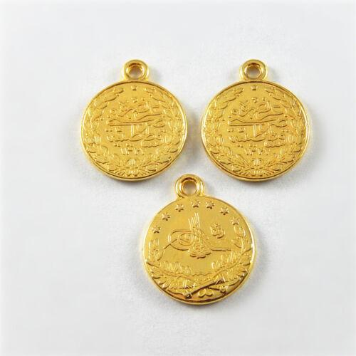 20 pièces Gold Tone Alliage Mini pièce commémorative Charms Pendentifs À faire soi-même Collier