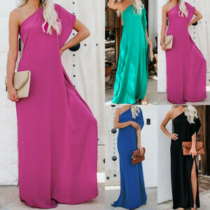 54b29c9c19 Womens One Shoulder Abaya Maxi Dress Kaftan Side Split Holiday Beach ...