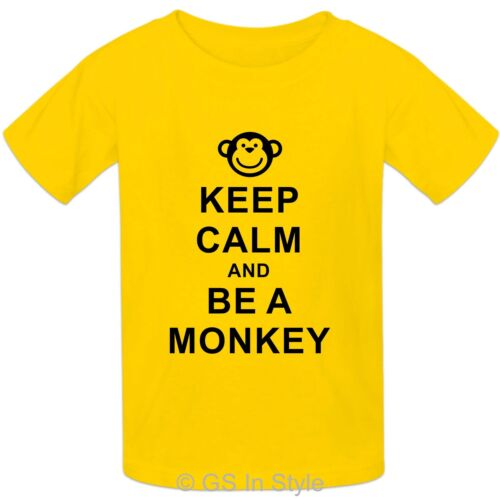 Kids /'KEEP CALM AND BE A MONKEY/' Design 100/% Cotton T-shirt Boys Girls 2-13 yrs