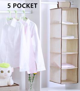 5-Shelf-Tidy-Hanger-Kids-Hanging-Wardrobe-Storage-Organiser-Clothes-Bag-Box-Hot