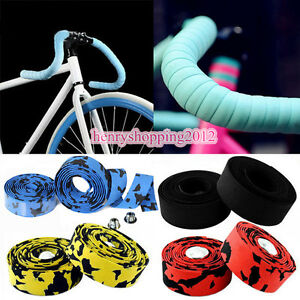 2 Bar Plugs 2 pcs Road Bike Cycling Cork Handlebar Bar Grip Wrap Ribbon Tape
