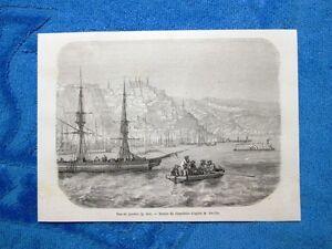 Gravure-Annee-1861-Vue-de-Quebec-Veduta-del-Quebec-Canada