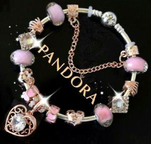 9398c7883 Image is loading Authentic-Pandora-Bracelet-Silver-Rose-Gold-Cz-Heart-