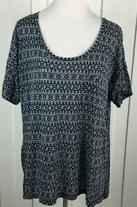 Ann-Taylor-LOFT-Black-Geometric-Knit-Top-Short-Sleeve-Scoop-Neck-Modal-Women-039-s-L