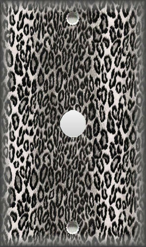 Metal Light Switch Plate Cover Leopard Print Home Decor Grey