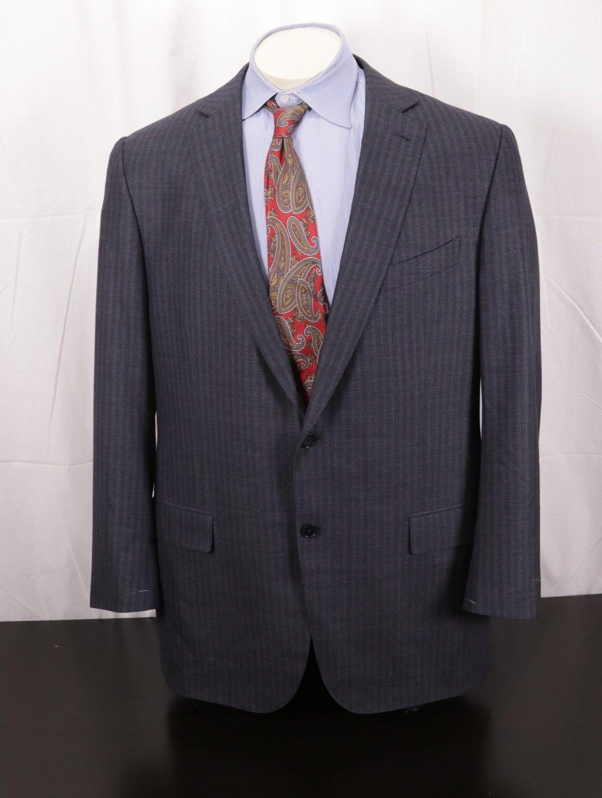 ERMENEGILDO ZEGNA Trofeo 600 Silk/Wool grau/Blau Striped Sport Coat Eu 56 US 45L