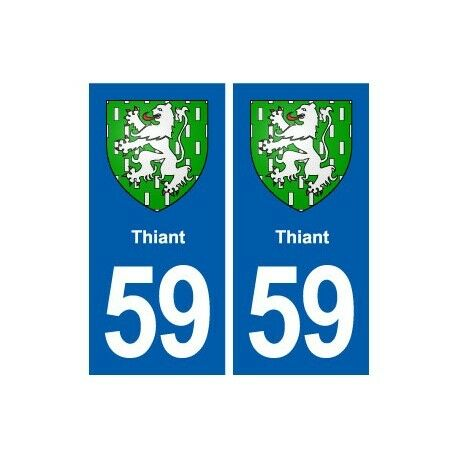 59 Thiant blason autocollant plaque stickers ville -  Angles : droits