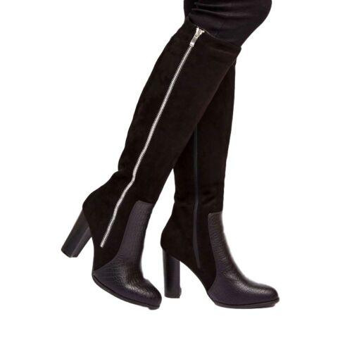 all'origine con alta Stivale gamba con croc effetto finta zip e scamosciato nero Wallis croc alto a TWHWBOxZ