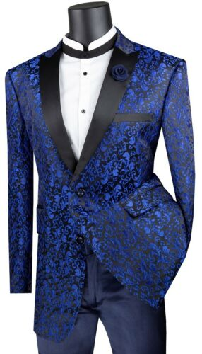 Men/'s Sports Coat Single Breasted 2 Buttons Classic Fit Blazer Floral Blue BF-2