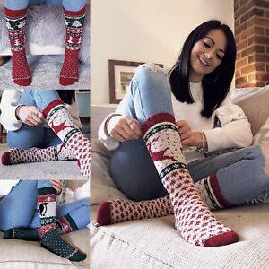 SOCK-SNOB-Ladies-Chunky-Wool-Cute-Novelty-Christmas-Socks-for-Indoors-or-Bed