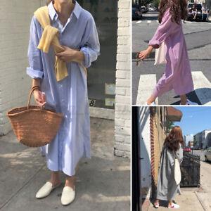 ZANZEA-Women-Loose-Casual-Holiday-Long-Dress-Bottons-Down-Striped-Shirt-Dress-US
