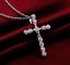 Collar-Cruz-De-Cristal-Colgante-de-placa-de-plata-esterlina-925-Cadena-De-Jesus-Damas-Nuevo miniatura 1