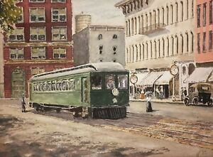 Original-STREETCAR-TROLLEY-Signed-Watercolor-Illustration-Painting