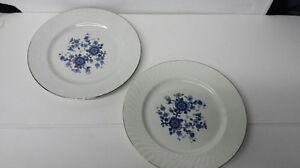 Royal-Blue-Ironstone-Enoch-Wedgwood-Tunstall-England-Dinner-Plates-Set-of-2