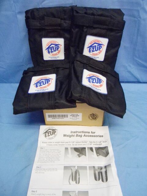 New Set Of 4 E Z Up Brand Deluxe Weight Bag For Instant Shelter Wbpr404bk Ez