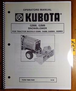 Kubota G2500 G2505 Snowblower for G3200 G4200 G4200H G5200H Operator