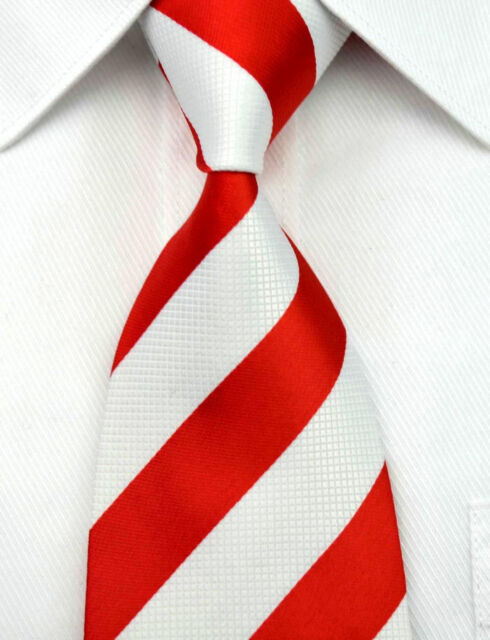 RT0092 Red White Striped Classic Jacquard Woven Silk Men's Necktie Tie
