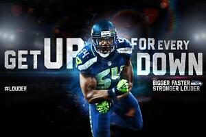 Seattle Seahawks Bobby Wagner Poster 24x36 Banner Wall Art Home