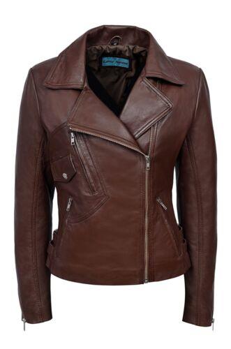 Luxury Ladies Leather Jacket Brown Real Italian Nappa Leather Biker Style Design