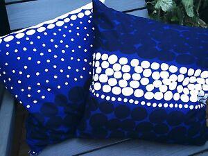 """Handmade Blue Jurmo pillow case, 18x18"""", 45x45cm, from Finland Marimekko fabric"""