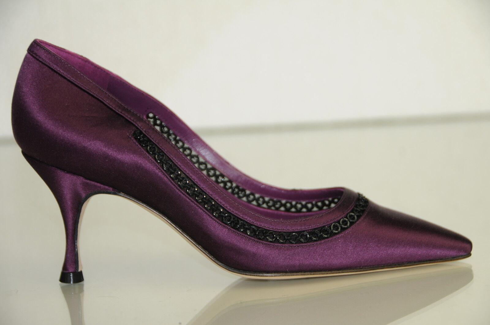 NEW MANOLO BLAHNIK Purple Satin Black Adorned Evening  Pumps SHOES Mid Heels 36