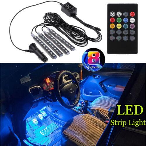12V 8 Color RGB Wireless Music Control LED 4 Strip Lights For Car Interior Decor