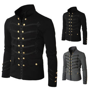 1b4dbaa2a6ae Vintage Men's Military Jacket Rock Victorian Gothic Coat Steampunk ...