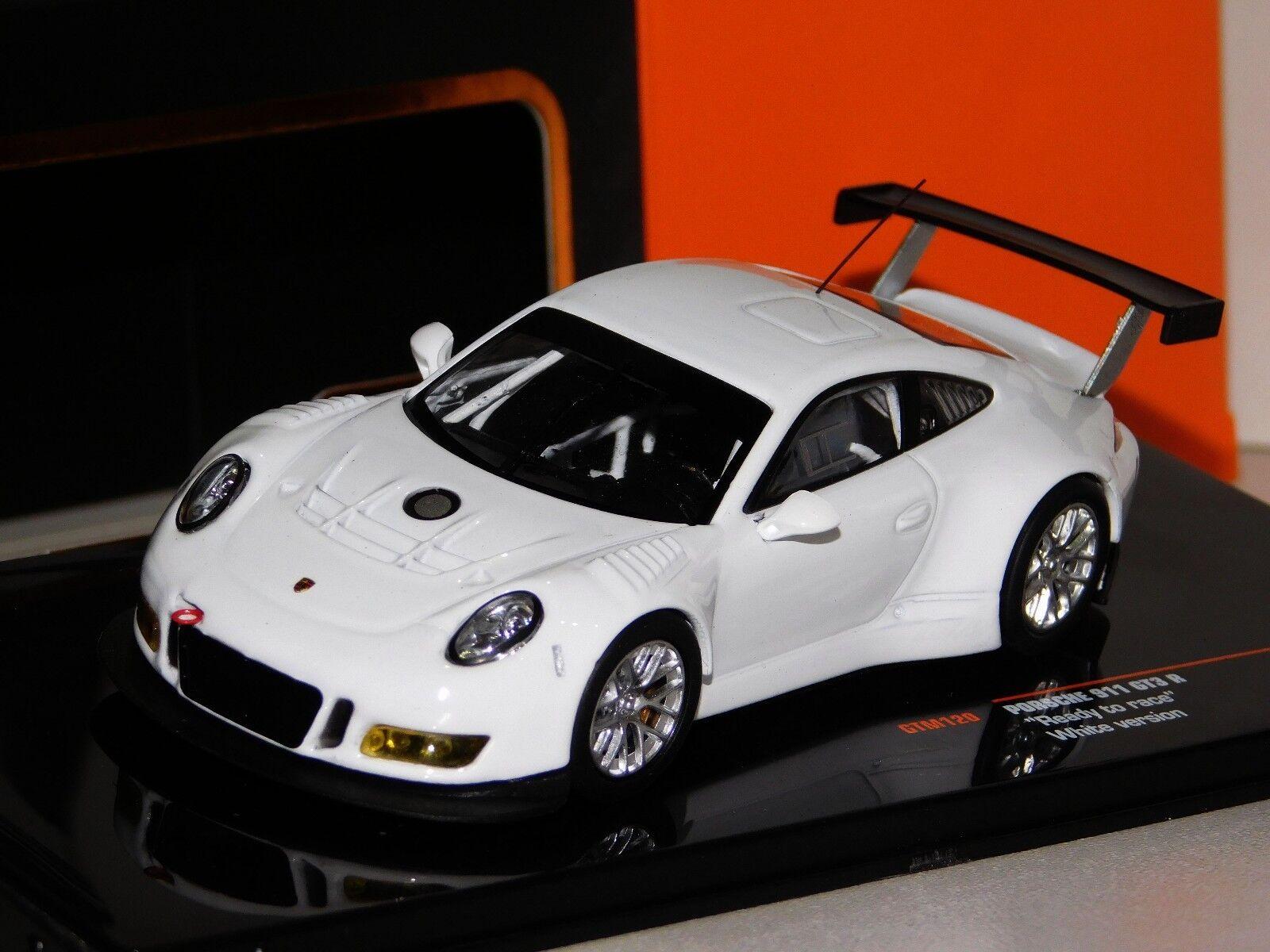 PORSCHE 911 GT3R READY TO RACE PLAIN BODY VERSION WHITE  IXO GTM120 1 43