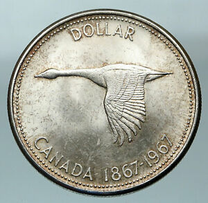1967-CANADA-Confederation-Founding-OLD-Goose-Genuine-Silver-Dollar-Coin-i84496