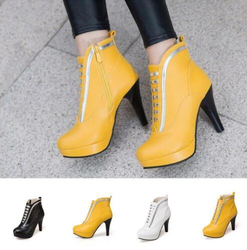 Schick Stiefeletten Ankle Boots Damenpumps Farbblock Platform 42 43 Stilettos
